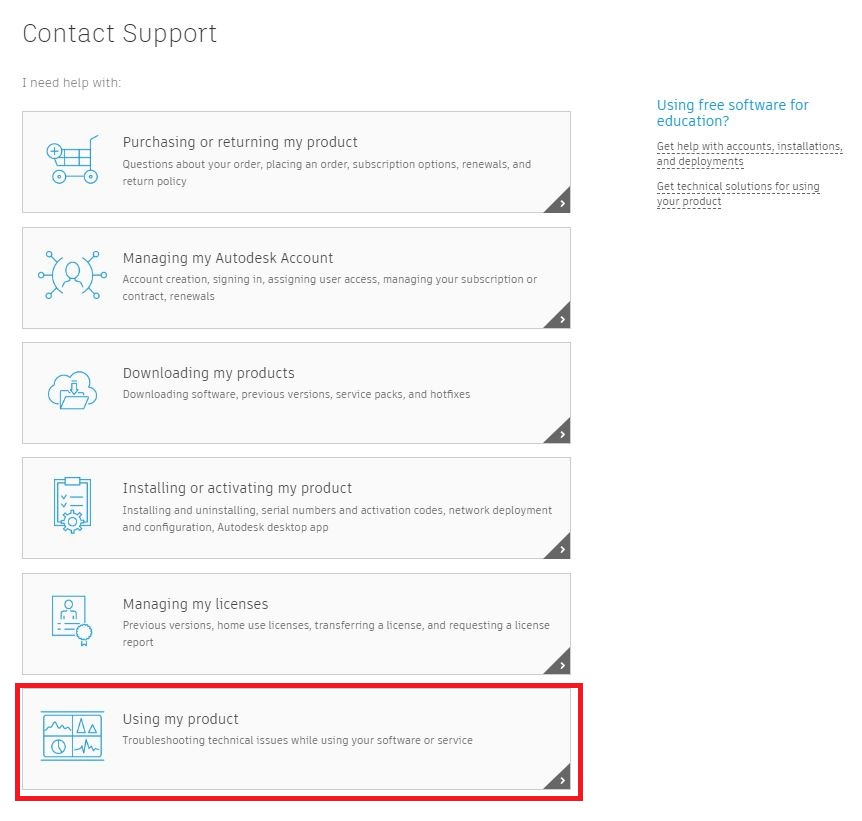 How to get technical support for an Autodesk product