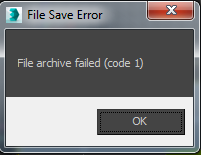 """File archive failed (code #)"" error when trying to archive a scene in 3ds Max"