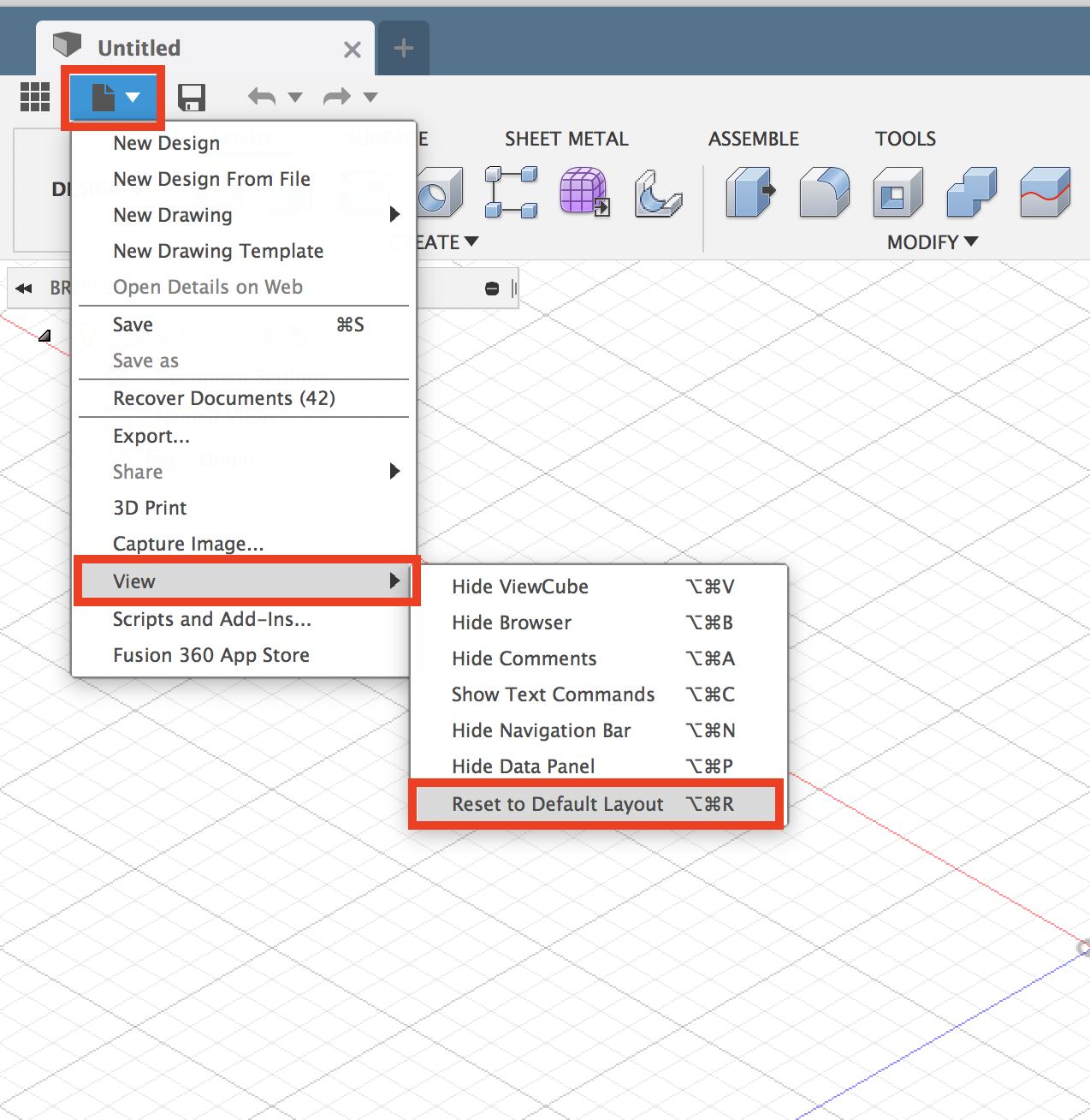 How to reset to the default layout in Fusion 360   Fusion