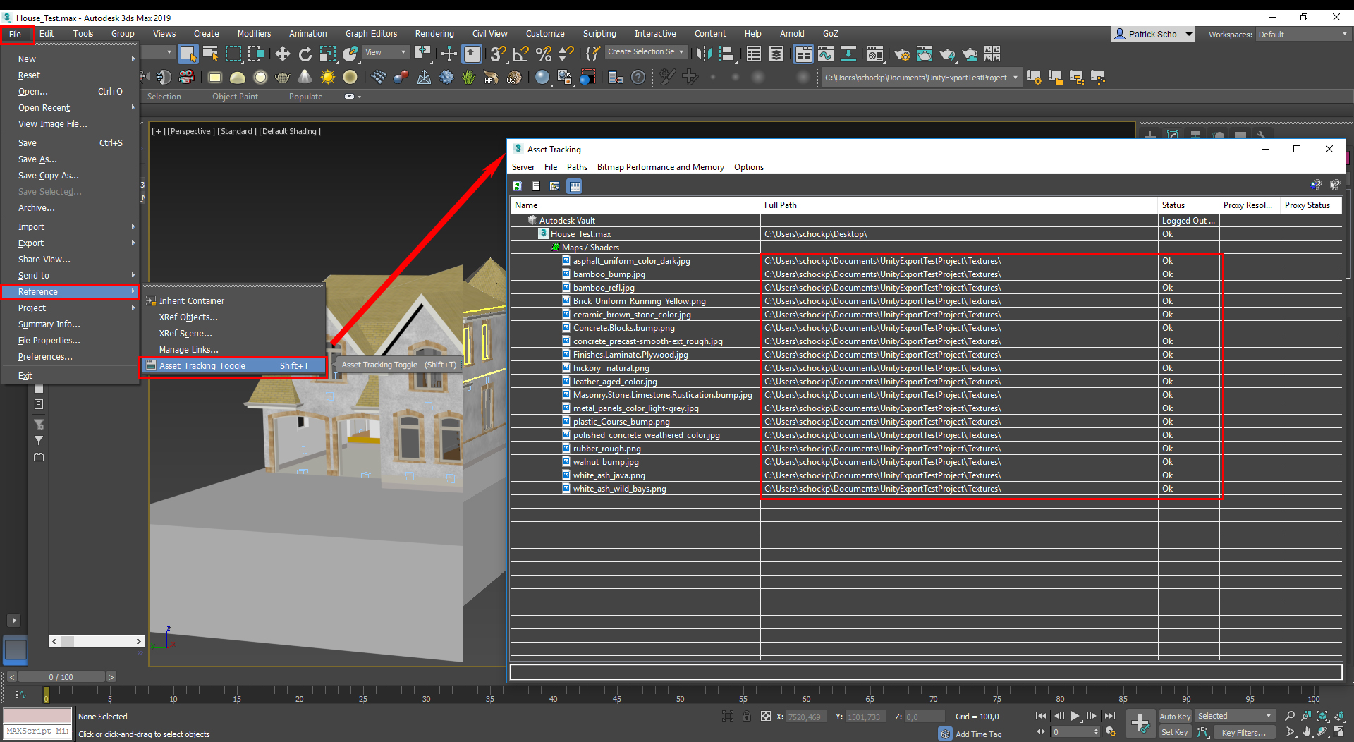 How to export a model with textures from Revit to Unity via 3ds Max