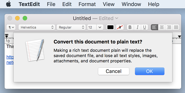 How to create a plain text file using TextEdit on a Mac