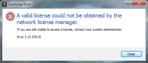 A valid license could not be obtained by the network license