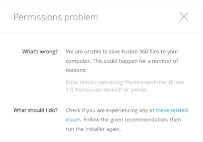 Permissions problem - Fusion 360 Install Error   Fusion 360