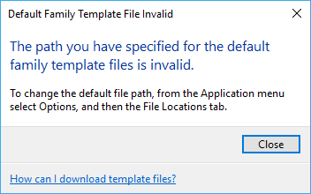 error the path you have specified for the default family template