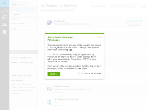 Immagine di impostazione delle autorizzazioni in Autodesk Account