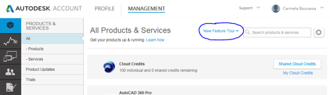 Immagine dell'opzione Panoramica delle nuove funzionalità in Autodesk Account
