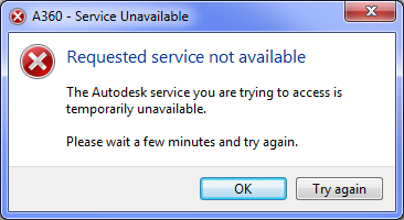 Error Requested Service Not Available When Logging In To Autodesk