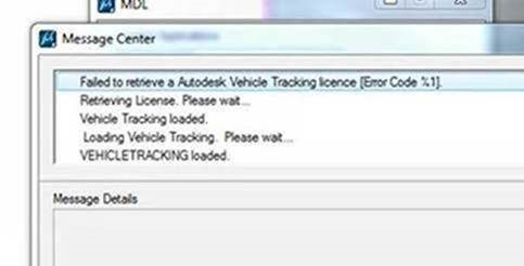 Error code %1 on Vehicle Tracking 2017 with MicroStation v8i
