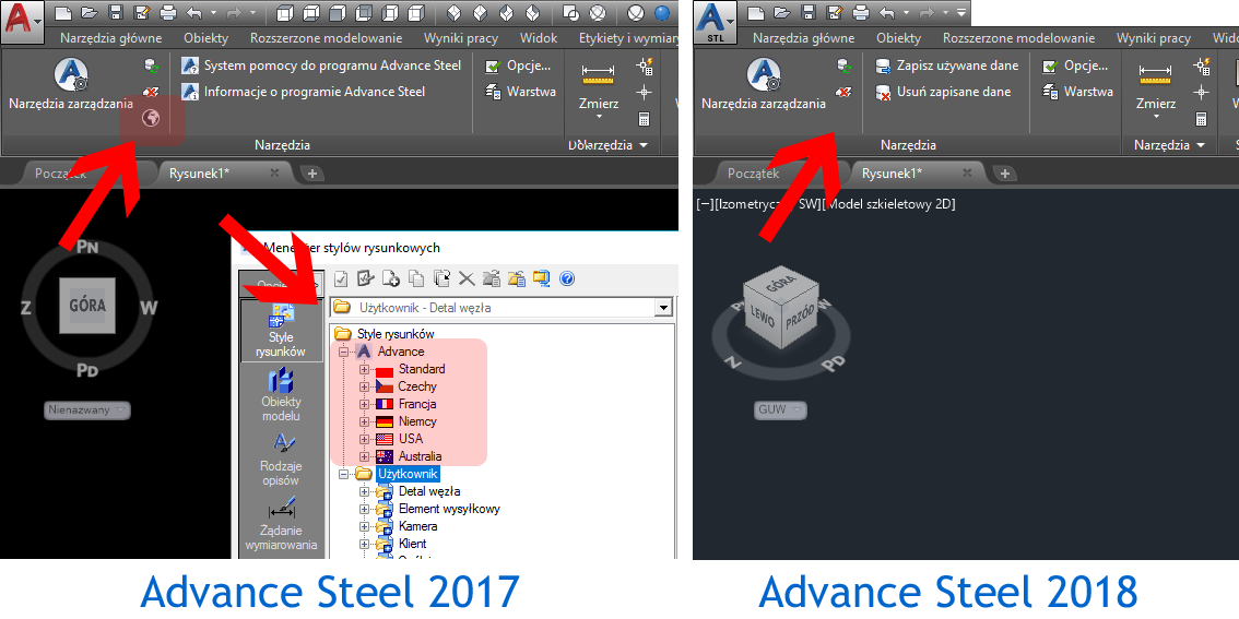 Advance Steel 2018 - Country Settings not available anymore
