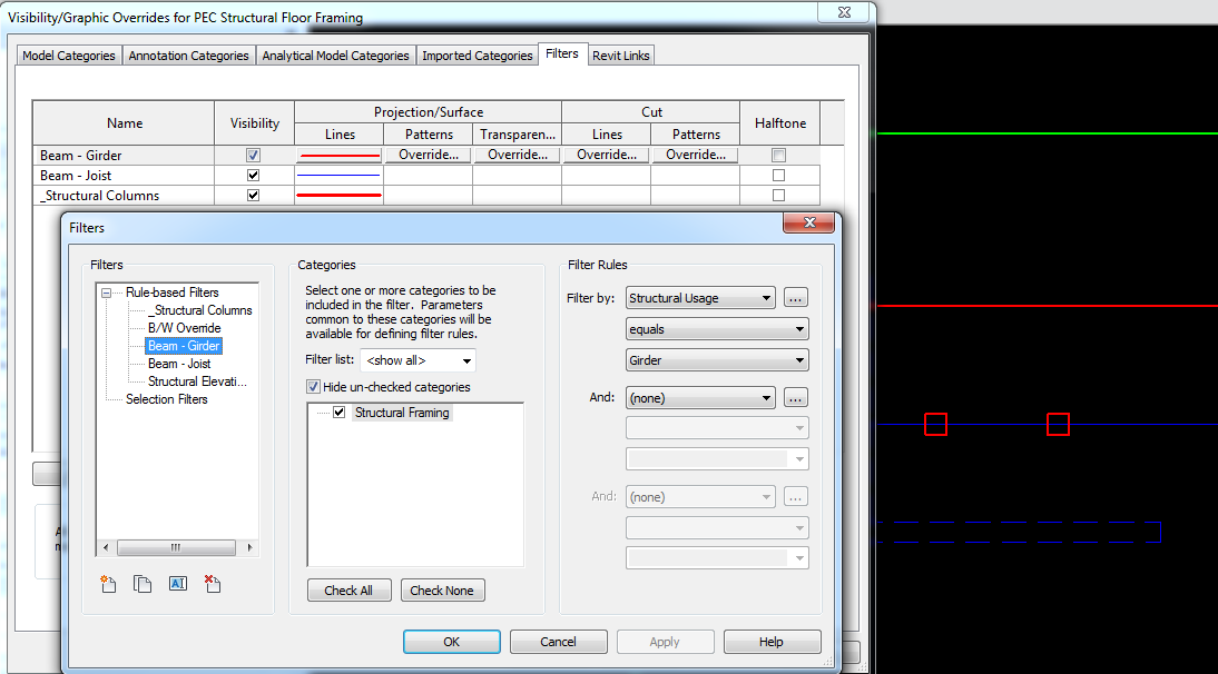 Revit: Using View Filter to control visibility Beams Based on