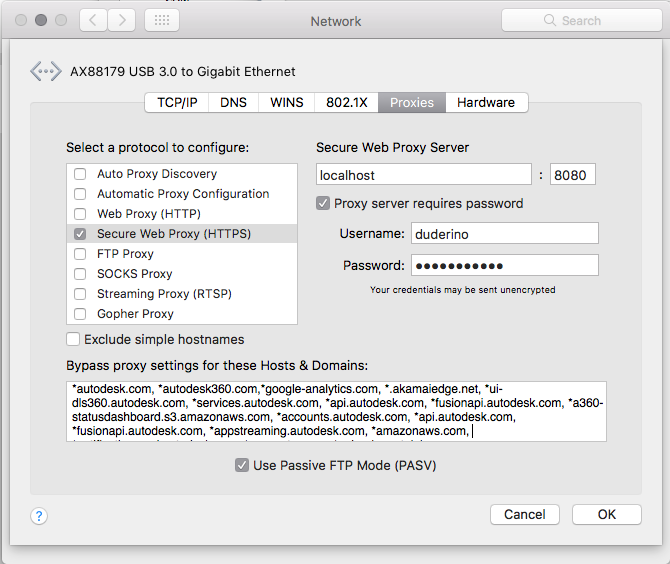 Add proxy server information to Network Preferences in