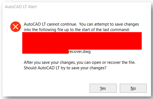 Error Autocad Cannot Continue You Can Attempt To Save Changes
