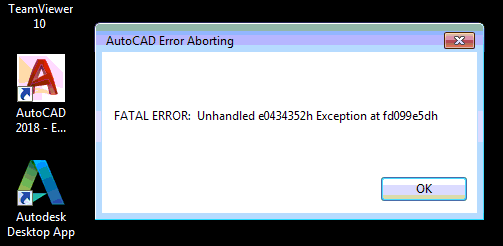 autocad error unhandled exception