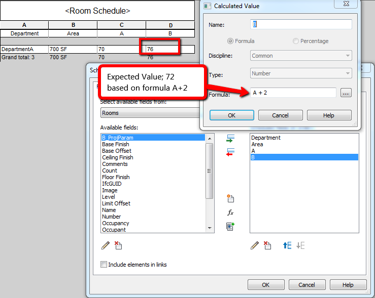 Revit: Calculated Value in schedule does not show expected results