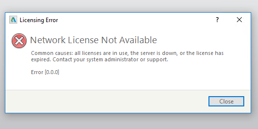 The license manager is not functioning autocad 2019