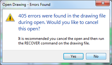 Error Number Errors Were Found In The Drawing File During Open