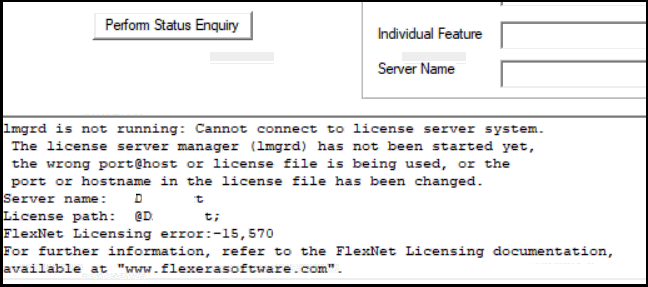 FlexNet Licensing error:-15,570  Cannot connect to license