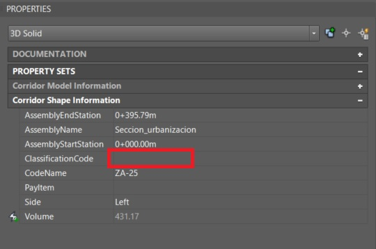 Can't export classification codes with solids in Civil 3D