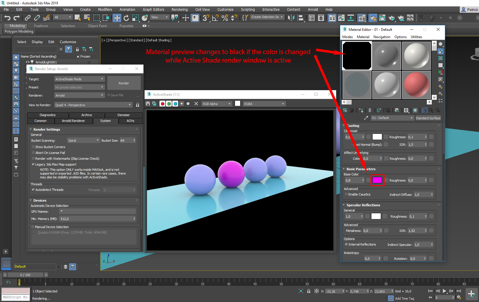 Arnold material preview changes to black in Material Editor in 3ds
