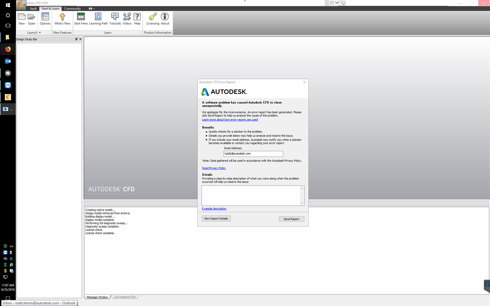 Autodesk CFD crashes with a CER while opening a project that