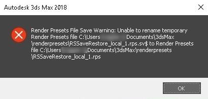 Lỗi lưu vào thư mục tạm thời 3ds Max