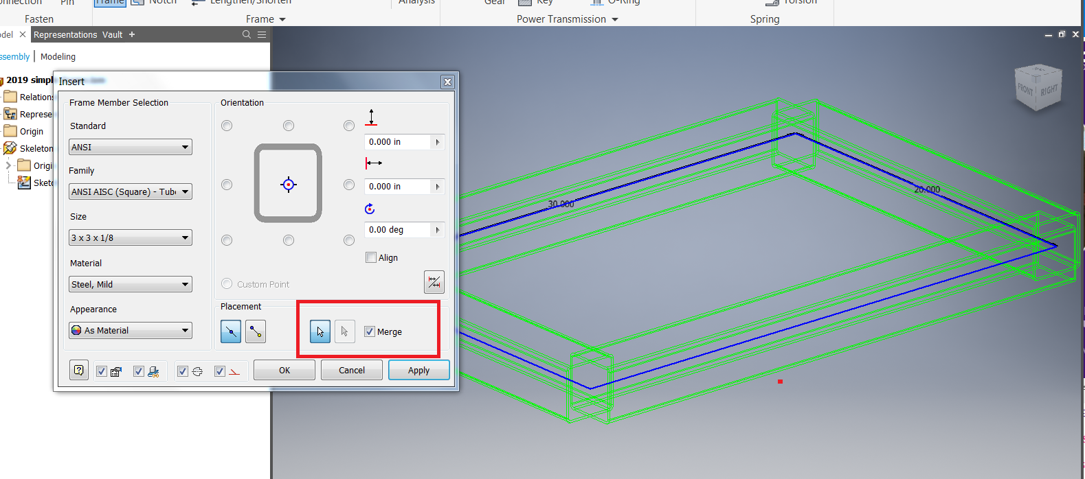 Applying rectangular tube to Frame Generator skeleton in Inventor ...