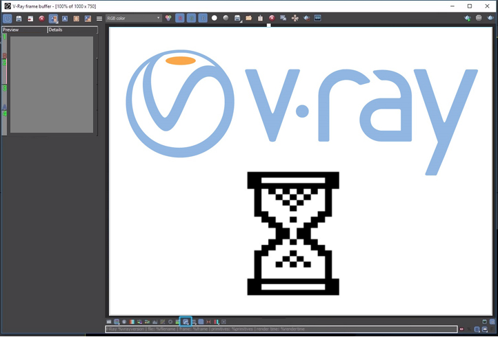 V-Ray Frame Buffer Window loading.