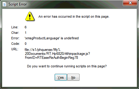 An error has occurred in the script on this page