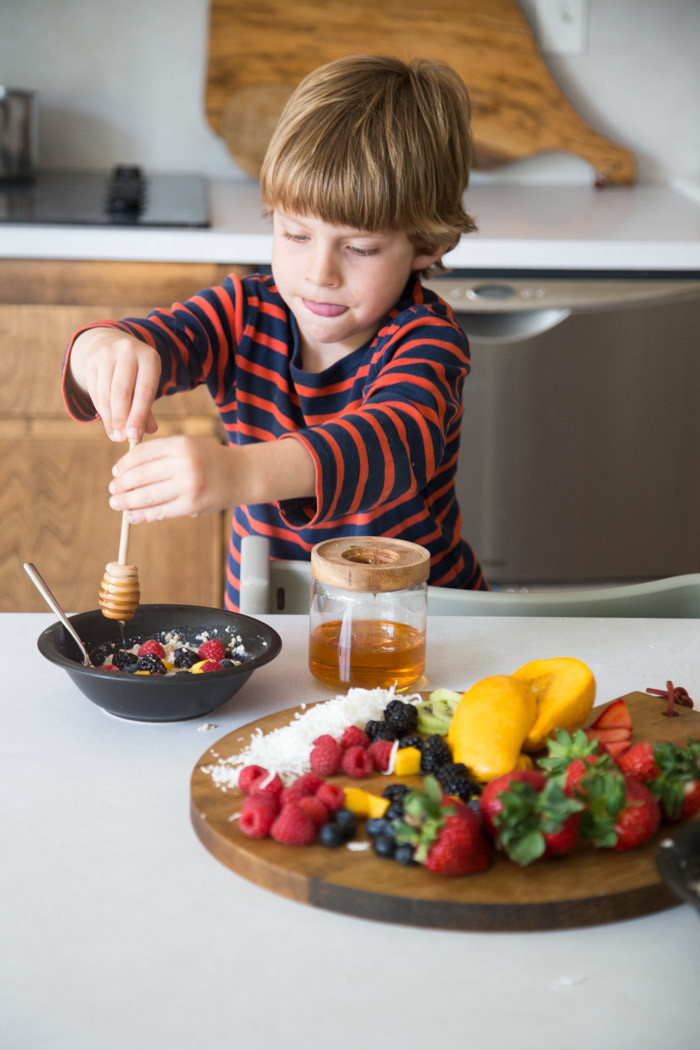 Healthy Oatmeal Bowls for Kids with Plum-Hither and Thither-9