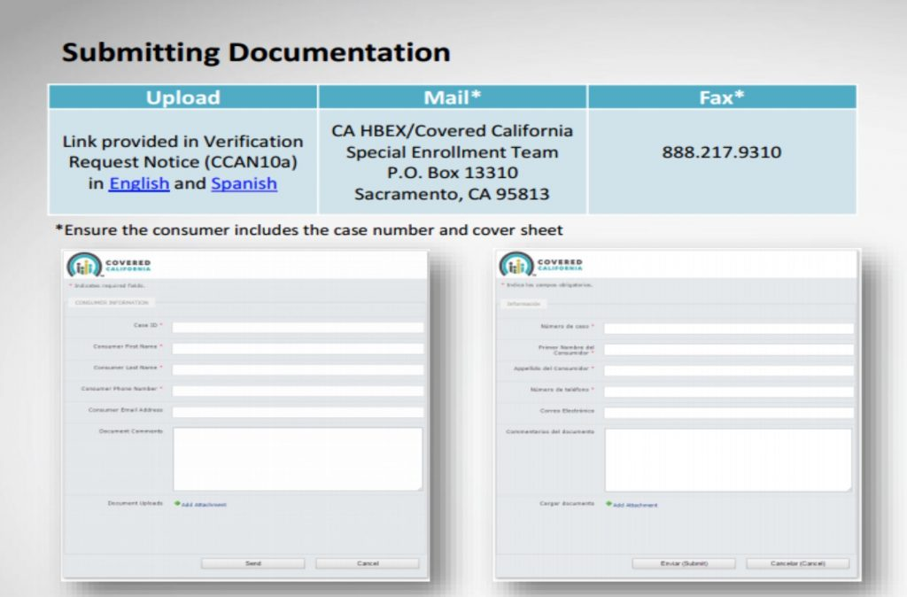 Covered California Submitting Documentation