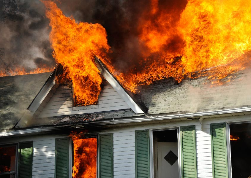 A house burns as a result of arson