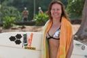 Title: Rochelle with Board Surfer: Ballard, Rochelle Type: Portraits