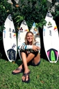 Title: Sofia with Boards Surfer: Mulanovich, Sofia Type: Portraits