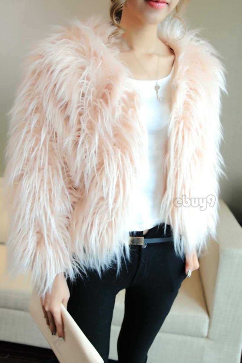 New Women's Winter Warm Faux Fur Long Sleeve Feather Jacket Coat Waistcoat