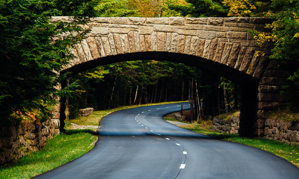 A road passing under a bridge in Acadia National Park.