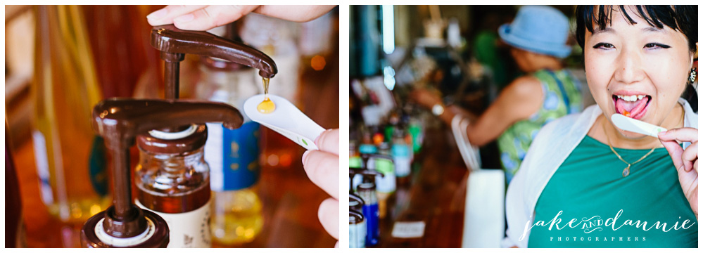 Dannie tries free samples of honey and poses for travel photos in savannah bee company