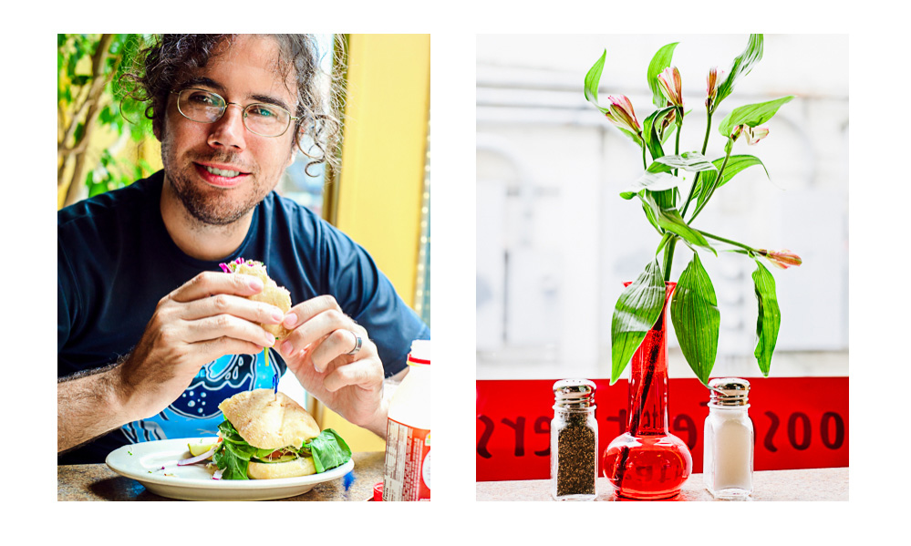 Jake eats a sandwich in Goose feathers in one photo, and a plant sits in a red vase by the window in another
