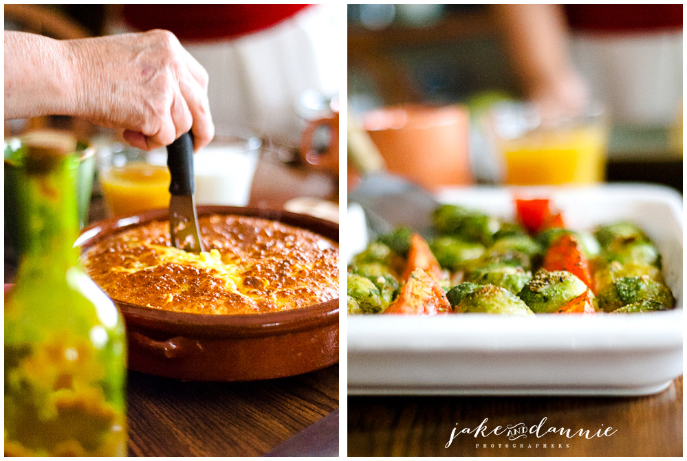 two photos of the vegetable frittata and the brussels sprouts and tomatoes we had on the second day in Savannah, Georgia