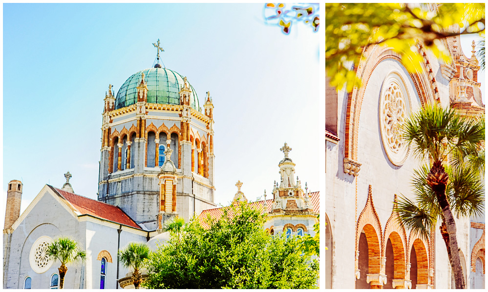 Two photos of a beautiful cathedral in historic St. Augustine, Florida