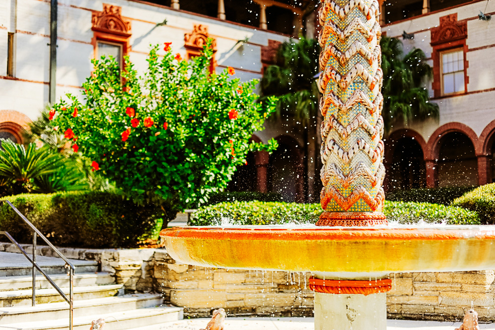 A fountain in the courtyard of St. Augustines Flagler College