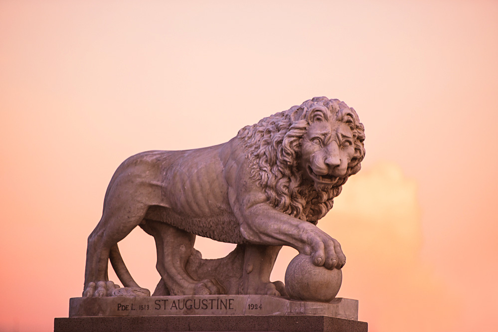 Statue of a lion by the bridge of lions, photo taken just before sunset