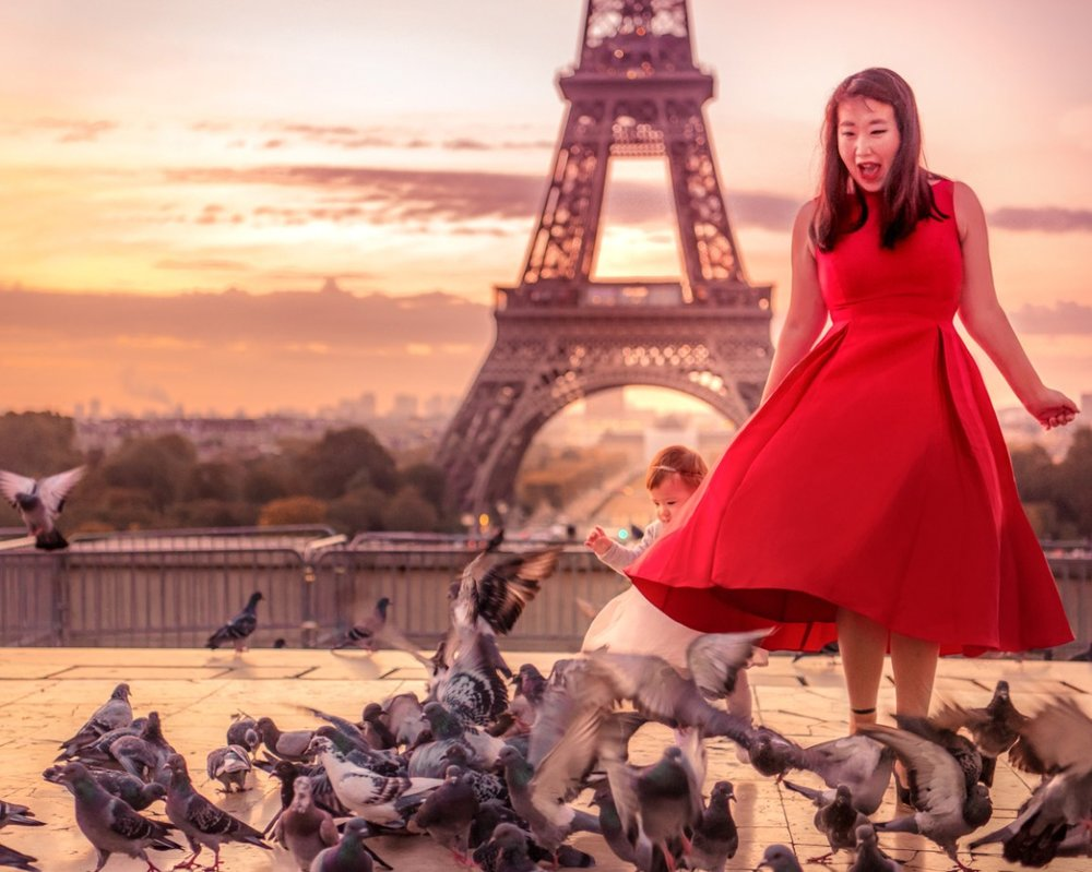Dannie and Lisa getting freaked out by the pigeons during our Eiffel Tower photo shoot.