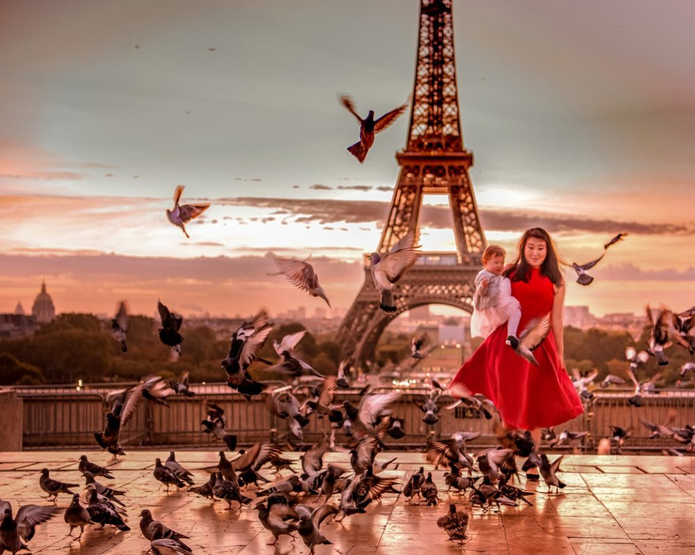 Pigeons crashing the Eiffel Tower photo shoot. We didn't mind.