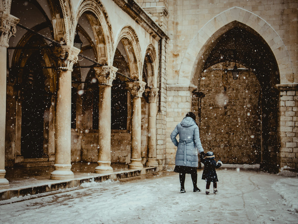 Snow falling during rare Dubrovnik winter weather.