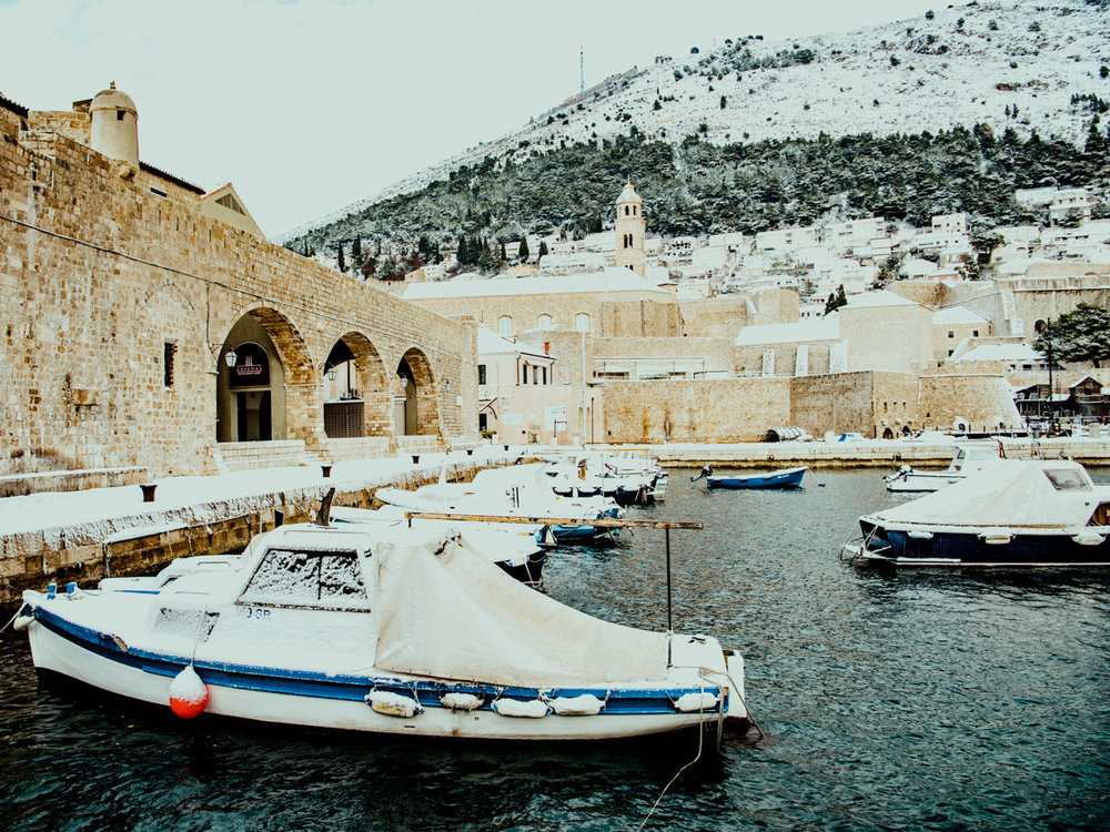 The harbor in Dubrovnik during our winter travel in Croatia.
