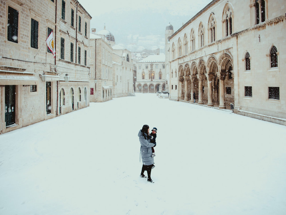 Snow in dubrovnik is a rare sight, but here it is. A special treat for winter travel in Croatia.