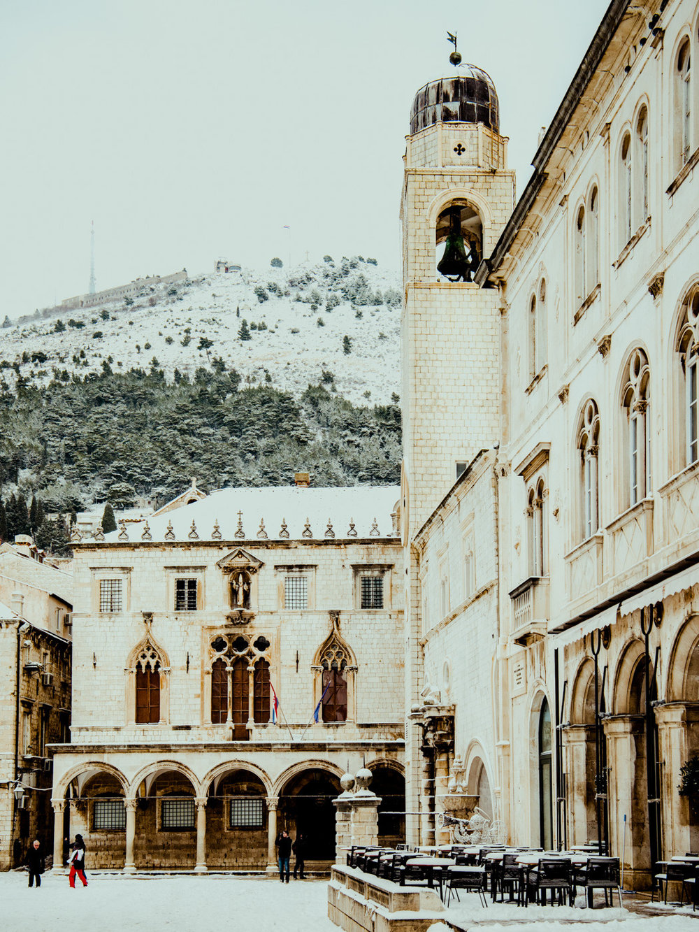 The Stradun of Dubrovnik, Croatia, covered in winter snow.