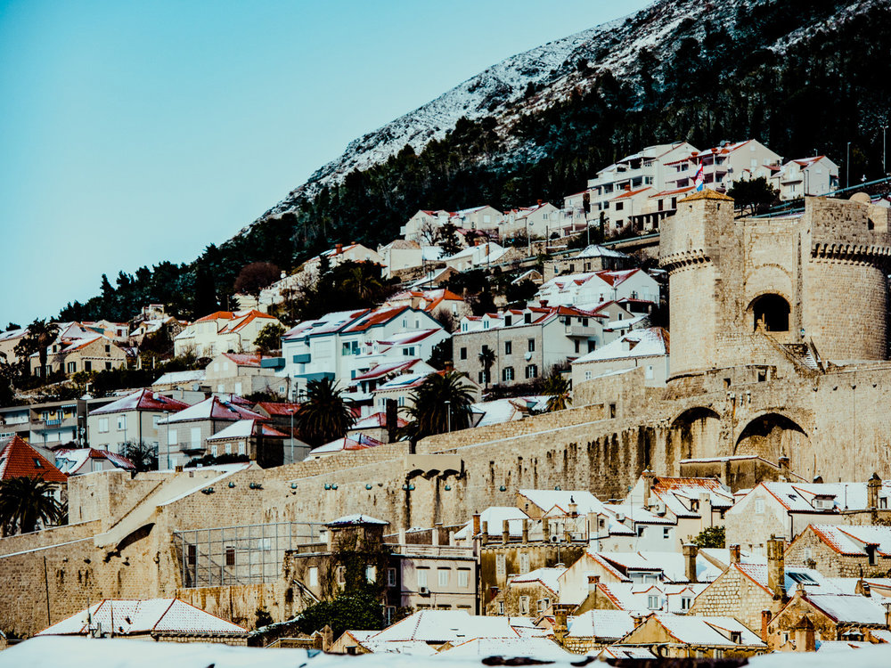 The rooftops of Dubrovnik, Croatia, covered in snow.