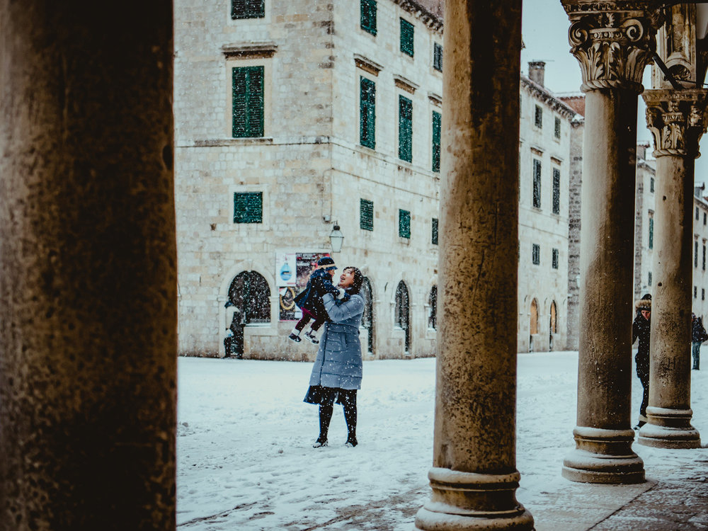 Playing with Lisa in a rare Dubrovnik winter snow storm.