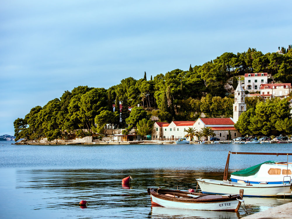 The quiet harbor of Cavtat, a nice day trip from Dubrovnik, Croatia